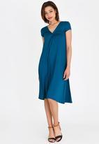 edit - V-neck knot front detail dress - blue