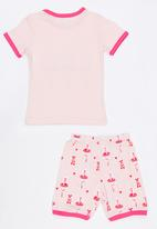 POP CANDY - Short Sleeve Printed Ballerina Pj Set  - Pale Pink