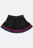 POP CANDY - Denim skirt with frill detail - black