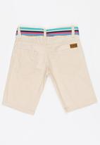 POP CANDY - Shorts with stipe belt - beige
