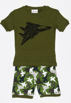 POP CANDY - Short Sleeve Printed Pj Set - Dark Green