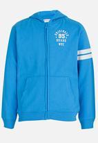 MINOTI - Basic Fleece Zip Thru Hoodie Blue
