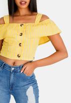 Sissy Boy - Date Night Poplin Stripe Crop Top Yellow