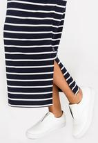 Cherry Melon - Striped Maxi Skirt Navy & White