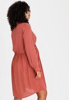 edit Maternity - Twist Front Maternity Shirt Dress Rust