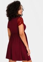 94b69037d53 Lace Sleeve Skater Dress Dark Purple edit Maternity Dresses ...