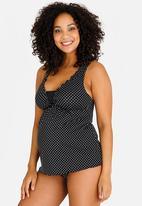 Jacqueline - Maternity Polka dot heather tankini top - black & white