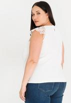edit Plus - Lace Sleeve Cami Off White