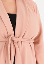 edit Plus - Knit Front Tie Jacket Rose