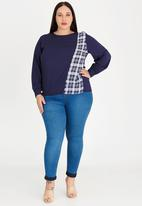 STYLE REPUBLIC PLUS - Patterned Inset Blouse Navy