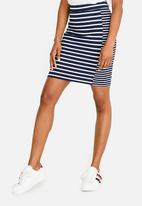 Tommy Hilfiger - Stripe Mix Pencil Skirt Navy & White