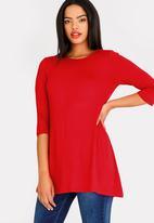 edit - 3/4 sleeve tunic - red