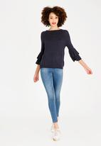 ONLY - Mila Ruffle Top Navy