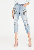 ONLY - Tonni Shorter Length Embroidery Jeans Pale Blue