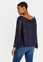 edit - Lace bell sleeve bardot blouse - navy