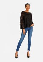 edit - Lace bell sleeve bardot blouse  - black