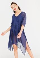 Sun Love - Longer Length Kimono Dress Navy