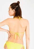 Sissy Boy - Petal Detail Gauged A-frame Bikini Top Yellow