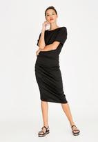 STYLE REPUBLIC - Ruched T-Shirt Dress Black