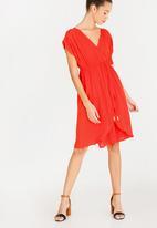 edit - Mock wrap dress with draw-cord - orange