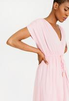 edit - Mock Wrap Dress with Draw-cord Pale Pink