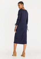 edit - Long sleeve draw-cord dress - Navy