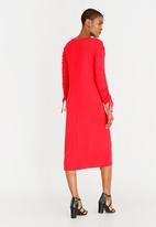 edit - Long sleeve draw-cord dress - Red