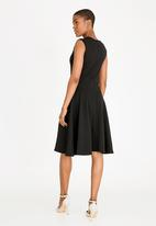 edit - Sleeveless fit and flare dress - black