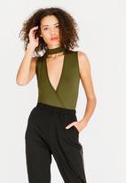 c(inch) - Choker Neckline Bodysuit Green