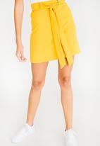 c(inch) - Self-Tie Mini Skirt Yellow