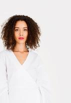 STYLE REPUBLIC - Volume Sleeve Wrap Blouse White