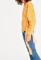 STYLE REPUBLIC - Volume Sleeve Wrap Blouse Yellow
