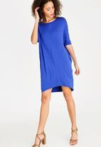 edit - Back detail lounge fit tunic dress - blue