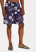 STYLE REPUBLIC - Hawaii Hibiscus Swimshorts Dark Purple