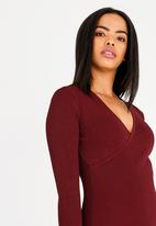edit - Wrap over semi fitted dress - burgundy