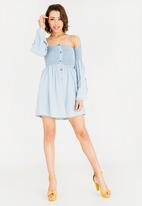 c(inch) - Bell Sleeve Fit And Flare Dress Pale Blue