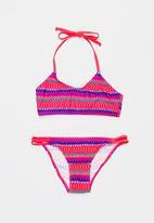 Sun Things - Neon Zig Zag Bralet & Strappy Bottom Set Dark Pink