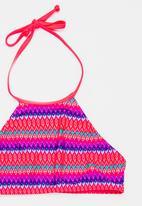 Sun Things - Neon Zig Zag Halter Top & Bottom Set Dark Pink