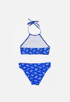 Sun Things - Foil Pinapple Halter Top & Bottom Set Blue