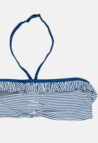 POP CANDY - Stripe Banded Frill Bikini Navy