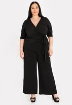 STYLE REPUBLIC PLUS - Wide leg high waisted pant - black