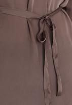 edit Plus - Satin like belted tunic - brown