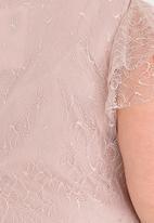 edit Plus - Flutter sleeve lace blouse - pink