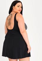 Jacqueline Plus - Pebble swim dress - black & white