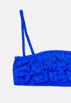 POP CANDY - Anglaise Frilled Bikini Dark Blue