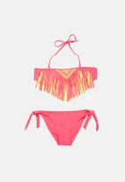 POP CANDY - Fringed Banded Bikini Dark Pink