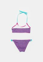 Sun Things - Pink mosaic bralet & strappy bottom set - purple