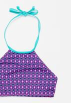 Sun Things - Pink mosaic halter top & bottom set - purple