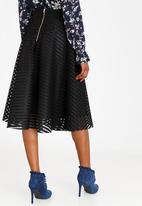 Revenge - Stripe Detail Midi Skirt Black