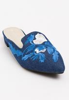 Sissy Boy - Embroidered Mules Dark Blue